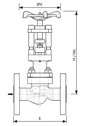 Globe valve for gaseous oxygen service – 155900 SERIES | Dimensions