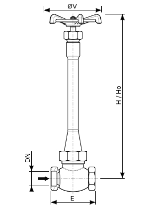 Bronze cryogenic globe valve Series – 160100 SERIES | Dimensions