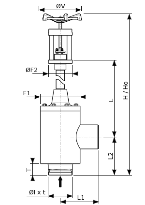 Cryogenic aluminium angle valve for coldbox installation – 170300 SERIES | Dimensions