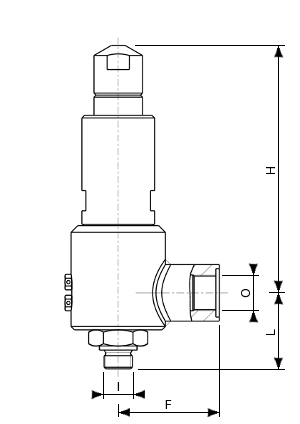 High pressure stainless steel safety valve – 776700 SERIES | Dimensions