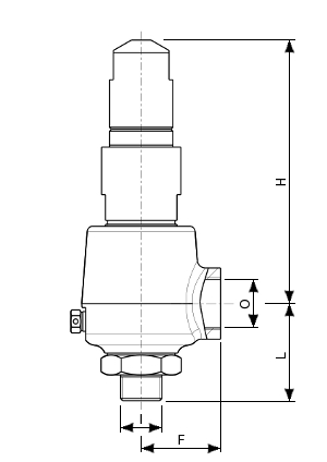 Stainless steel safety valve – 770700 SERIES | Dimensions